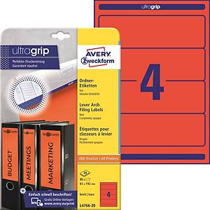 Avery Zweckform L4766-20 etikettek iratrendezőkre, piros, méret: 192 x 61 mm