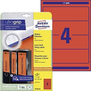 Avery Zweckform címke iratrendezőhöz, 192 x 61 mm, piros, 80 darab/csomag