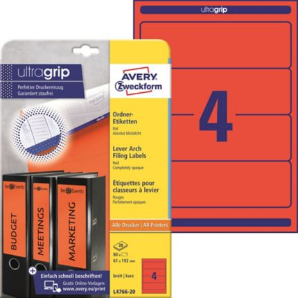 Avery Zweckform Ordner Etiketten L4766 20 Rot 192 X 61 Mm