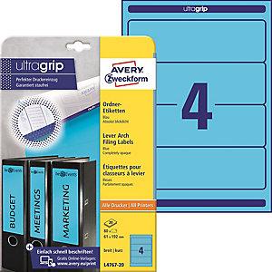 Avery Zweckform Ordner Etiketten L4767 20 Blau 192 X 61 Mm