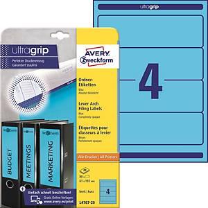 Etikety na pořadače Avery Zweckform, 192 x 61 mm, modré, 80 ks/bal
