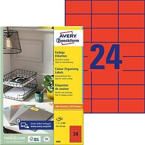 Etiketten Avery Zweckform 3448, 70x37 mm, rot, Packung à 2400 Stück