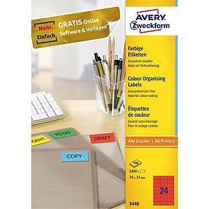 Univerzální etikety Avery, 3448, 70 x 37 mm, červené, 24 etiket/list