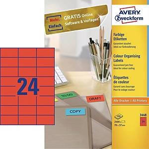 BX2400 AVERY 3448 I+L+C LAB 70X37MM RED