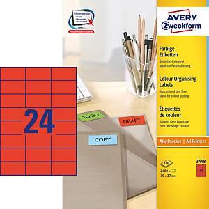 Avery 3448 monitoimitarra 70 x 37mm 24-osainen punainen, 1 kpl=2400 tarraa