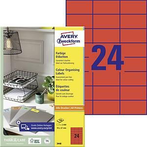 Avery 3448 univerzális etikettek, 70 x 37 mm,piros