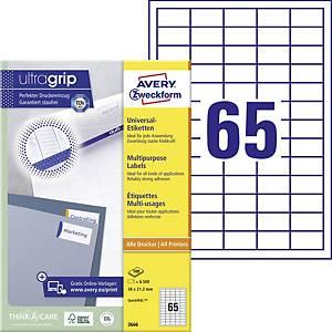 Etiketten Zweckform 3666, 38 x 21,2mm, weiß, 65 Etiketten per Blatt