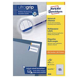 Avery 3666 multifunctionele witte etiketten, 38 x 21,2 mm, doos van 6.500