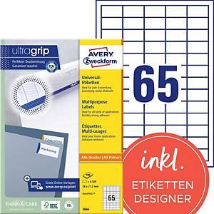 Étiquettes Avery Zweckform ultragrip 3666, 38x21,2 mm, paq. 6500unités