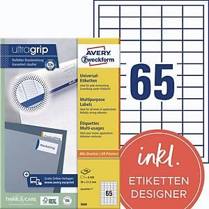 Universal-Etiketten Avery Zweckform 3666 38x21,2mm weiß 100 Blatt/6.500 Stück