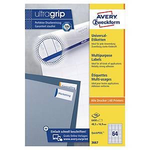 Avery 3667 multifunctionele witte etiketten, 48,5 x 16,9 mm, doos van 6.400