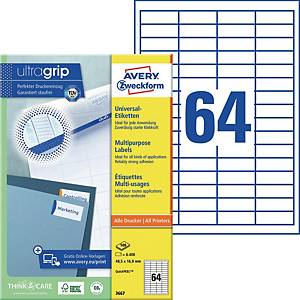 Universal-Etiketten Avery Zweckform 3667 48,5x16,9mm weiß 100 Blatt/6.400 Stück