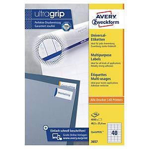 Avery 3657 multifunctionele witte etiketten, 48,5 x 25,4 mm, doos van 4.000