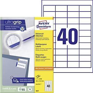 Avery Zweckform 3657 univerzális etikettek 48,5 x 25,4 mm, 40 etikett/ív, 100 ív