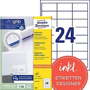 Etiketten Avery Zweckform ultragrip 3658, 64,6x33,8 mm, Pk. à 2400 Stk.