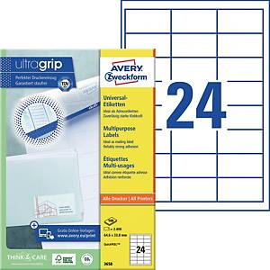 Universal-Etiketten Avery Zweckform 3658 64,6x33,8mm weiß 100 Blatt/2.400 Stück