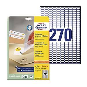 Uniwersalne etykiety usuwalne AVERY ZWECKFORM 17,8x10mm, białe, 8100 etykiet