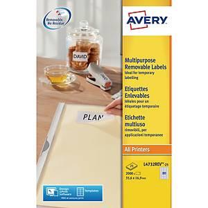 Caixa de 2000 etiquetas removíveis Avery L4732REV-25 - 35,6 x 16,9 mm - branco