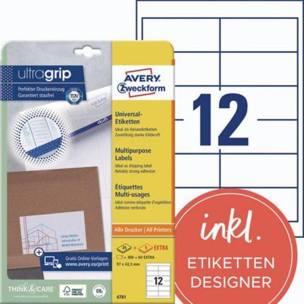 Universal Etiketten Avery Zweckform 4781 97x42 3mm Lxb