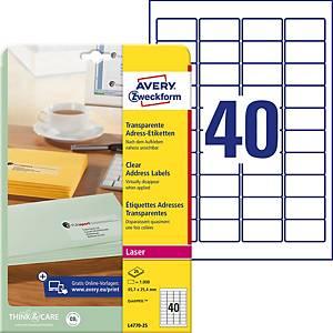 Transparent Etiquettes Avery Zweckform L4770-25 45,7x25,4 mm, emb. de 1000 pcs