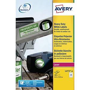Polyesteretiketter Avery, 63,5 x 33,9 mm, hvid, æske a 480 stk.