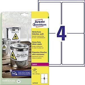 Avery Zweckform wetterfeste Polyester-Etiketten; L4774-20, weiß