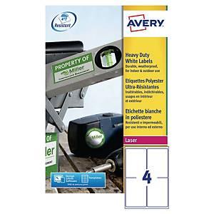 Étiquettes usage intensif inaltérables Avery L4774, 99,1 x 139 mm, les 80
