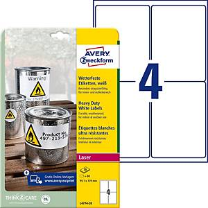 Etiketten Avery Zweckform L4774, 99,1x139 mm, wasserfest, weiss, Pk. à 80 Stk.