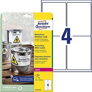 Étiquettes Avery Zweckform L4774,99,1 x 139 mm, résist. à l eau, blc, 80unit.