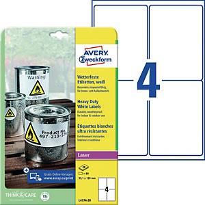 Wetterfeste Etiketten Avery Zweckform L4774-20, 99,1x139mm (LxB), weiß, 80 St.