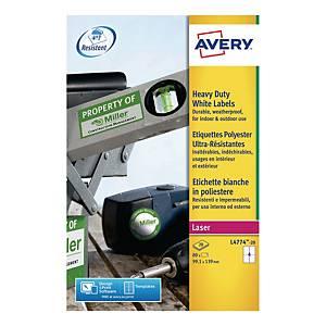 Avery L4774-20 Resistant Labels, 99.1 x 139 mm, 4 Labels Per Sheet