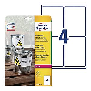 Avery L4774-20 Resistant Labels, 99.1 x 139 mm, 4 Labels Per Sheet