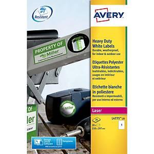 Étiquettes usage intensif inaltérables Avery L4775, 210 x 297 mm, les 20
