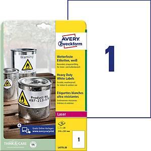 Étiquettes Avery Zweckform L4775, 210 x 297 mm, résist. à l eau, blc, 20unit.