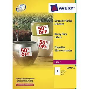Avery L4775 Heavy Duty tarra 210 x 297mm 1-osainen valkoinen, 1 kpl=20 tarraa