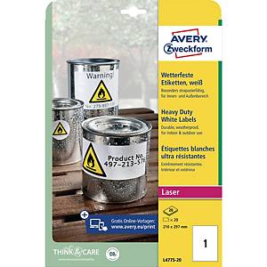 Avery Heavy Duty Labels L4775-20 210 X 297Mm - Box Of 20