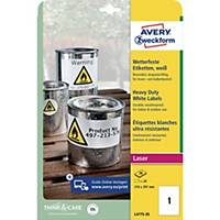 Avery címke, poliészter, 210 x 297 mm, fehér, 1 címke/ív