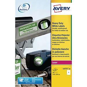 Etiketter Avery, 210 x 29,7 mm, hvit, eske à 20 stk.