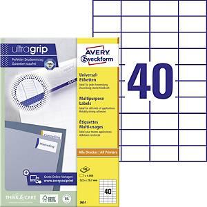 Zweckform 3651 Universal Etiketten 52,5x29,7 mm, 40 Etiketten/Blatt (100 Blatt)