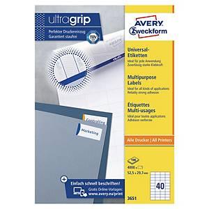 Avery 3651 multifunctionele witte etiketten, 52,5 x 29,7 mm, doos van 4.000
