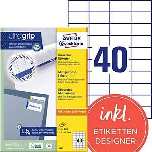 Etiketten Avery Zweckform 3651, 52,5 x 29,7 mm, Packung à 4000 Stück