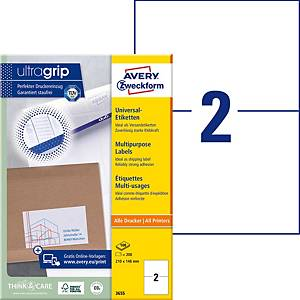 Etiketten Avery Zweckform ultragrip 3655, 210x148 mm, Pk. à 200 Stk.