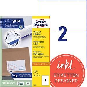Étiquettes Avery Zweckform ultragrip 3655, 210x148 mm, paq. 200unités