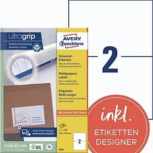 Universal-Etiketten Avery Zweckform 3655 210x148mm 100 Blatt/200 Etiketten, weiß