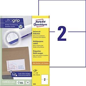 Avery univerzális címke, 3655, 210 x 148 mm, 2 címke/ív