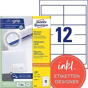 Etiketten Avery Zweckform ultragrip 3659, 97x42,3 mm, weiss, Pk. à 1200 Stk.