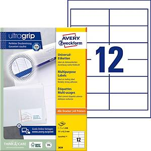 Étiquettes Avery Zweckform ultragrip 3659, 97x42,3 mm, blanc, paq. 1200unités