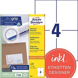 Étiquettes Avery Zweckform ultragrip 3483, 105x148 mm, blanc, paq. 400unités