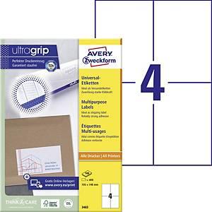 Avery Zweckform 3483 univerzális etikettek 105 x 148 mm, 4 etikett/ív, 100 ív