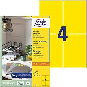 Etiketten Avery Zweckform 3459, 105x148 mm, gelb, Packung à 400 Stück
